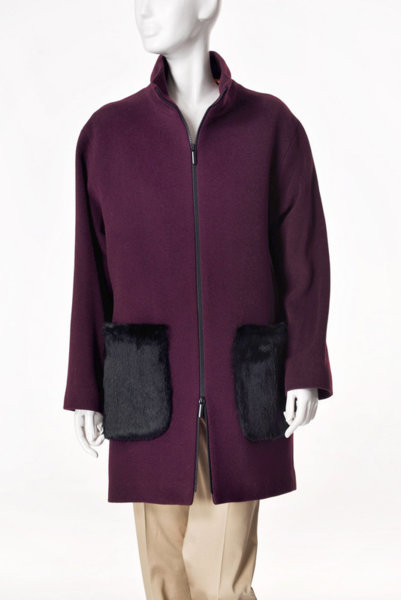 Палто с естествен косъм