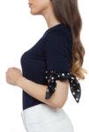 Плетена памучна блуза с къс ръкав