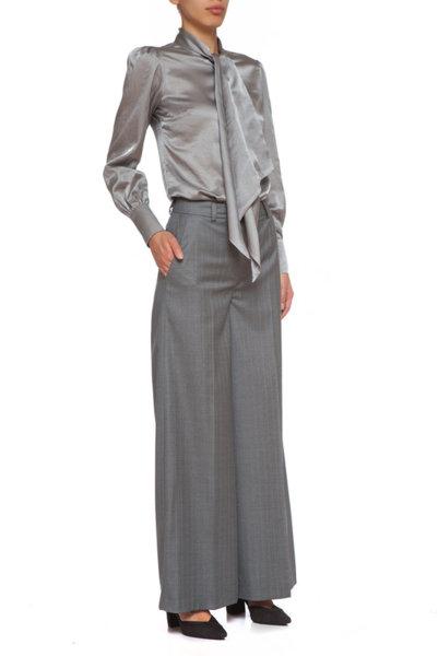 Сив вълнен широк панталон