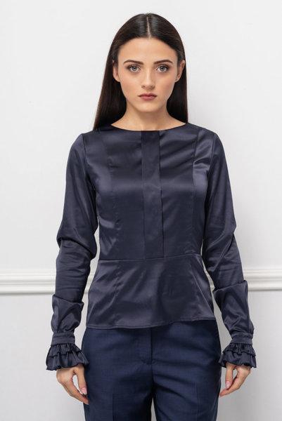 Тъмносиня блуза с къдри
