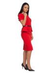 Червена рокля с пеплум