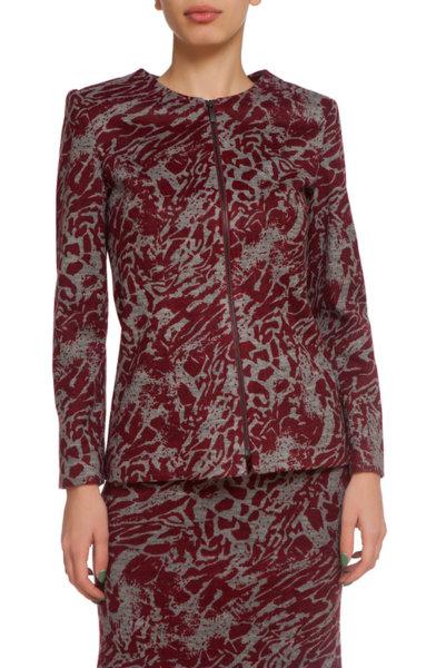 Червено-сиво сако от трико