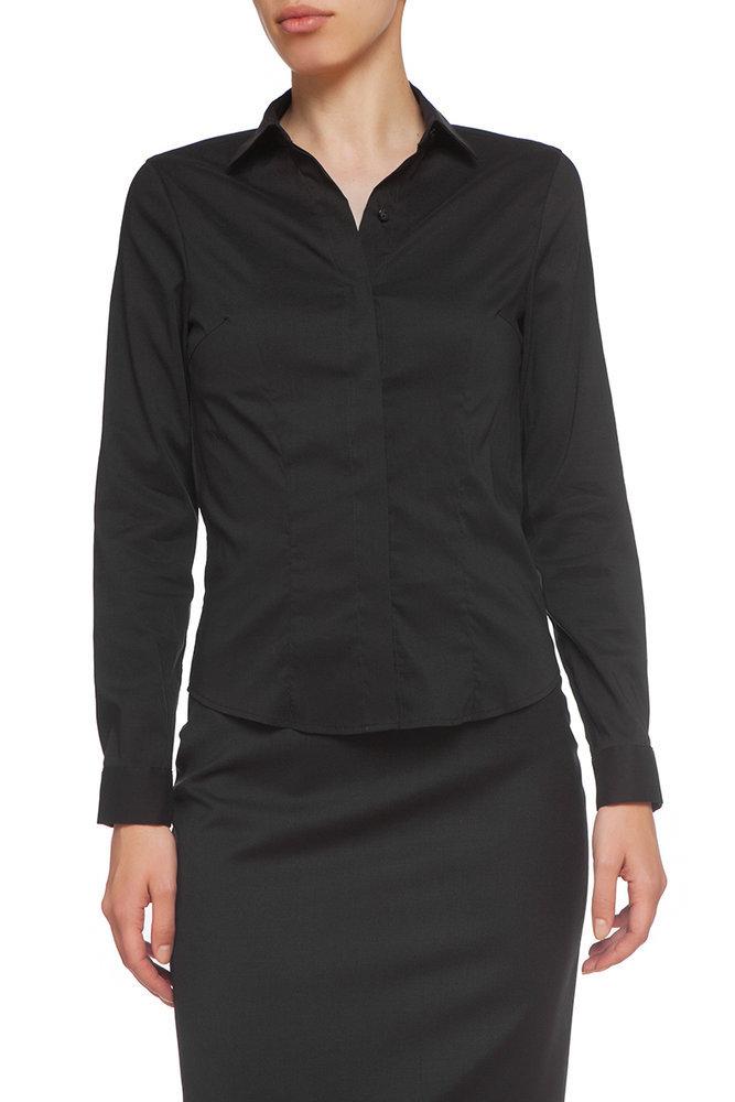 Черна вталена риза
