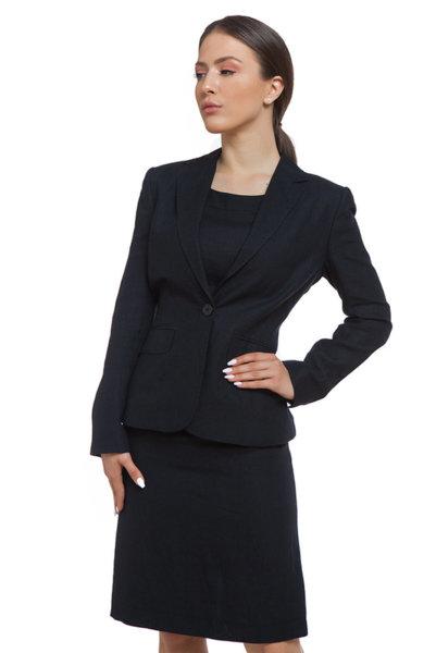 Черно ленено сако