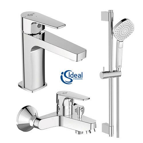 Комплект 3в1 смесител за мивка, за вана/душ и тръбно окачване с ръчен душ IDEAL STANDARD Esla BC264AA