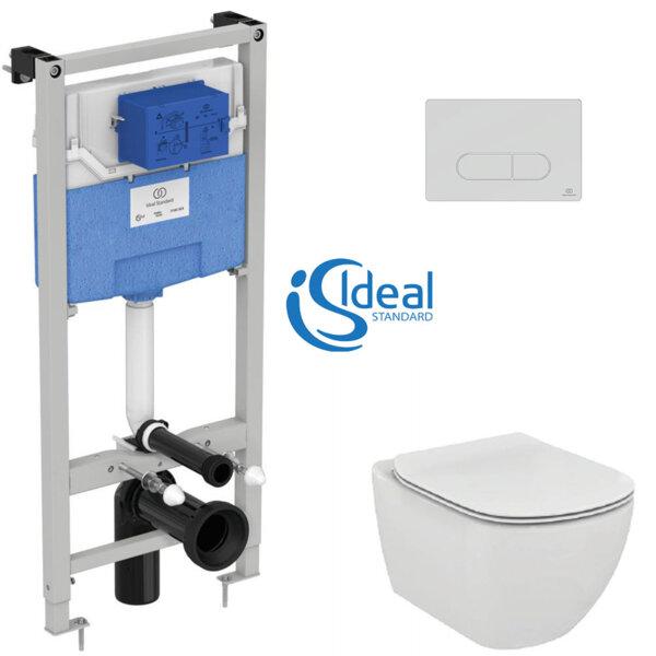 Структура за вграждане Prosys 120 M и конзолна тоалетна чиния Tesi с ултратънък капак IDEAL STANDARD T007801 + T352801 + R020467 + R0115AA