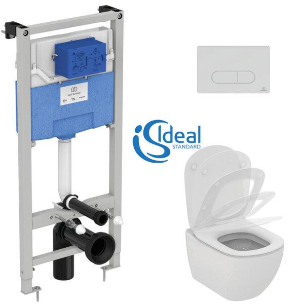 Структура за вграждане Prosys 120 M и конзолна тоалетна чиния Tesi с ултратънък капак IDEAL STANDARD T007801 + T352701 + R020467 + R0115AA