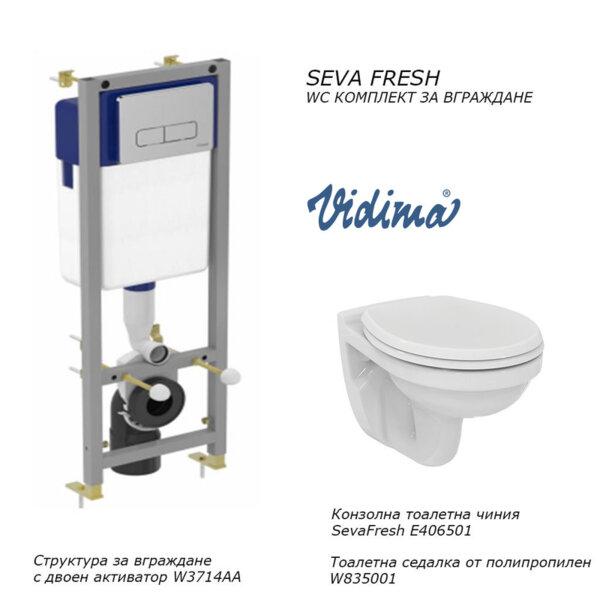 Комплект структура за вграждане и тоалетна VIDIMA Seva Fresh E406501 + W835001 + W3714AA