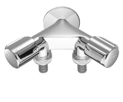 Спирателен двоен кран 1/2 с 2 щуцера за перална/миялна 3/4 SCHELL COMFORT 033660699