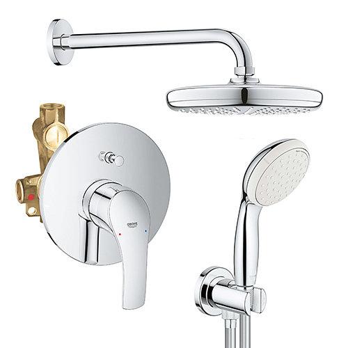 Комплект смесител за вграждане с душ пита GROHE TEMPESTA 210 и ръчен душ с държач и коляно TEMPESTA 100 GROHE EUROSMART  33305002 26412000 26406001