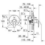 Комплект смесител за вграждане с душ пита TEMPESTA 210 и ръчен душ с държач и коляно TEMPESTA 100 GROHE EUROSMART  33305002 26412000 26406001