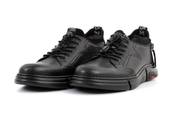 Pantofi sport negri din piele naturală pentru bărbaţi 57.17515