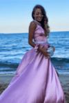 """Официална дълга рокля """"Adriana"""" цвят пепел от рози"""