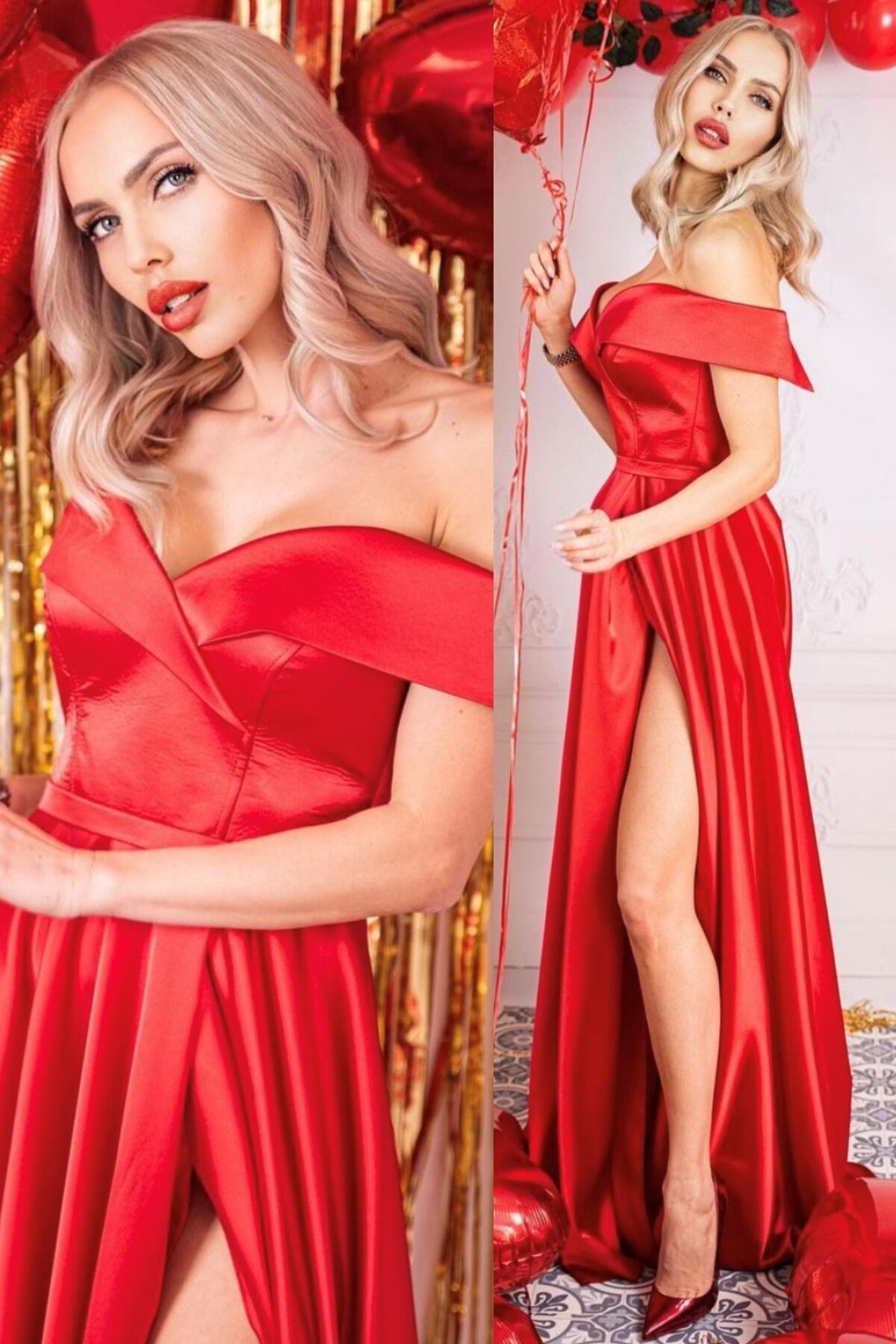 """Официална дълга рокля """"Alexandra"""" сатен цвят червен"""