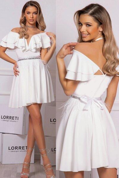 """Коктейлна къса рокля """"Mademoiselle"""" цвят бял"""