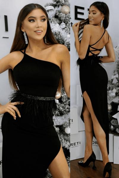 """Официална дълга рокля """"Zlatina"""" цвят черен"""