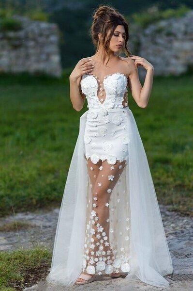 """Официална рокля """"Sianna"""" цвят бял - Sale"""