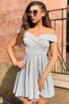 Коктейлна къса рокля цвят сребърен LORRETI