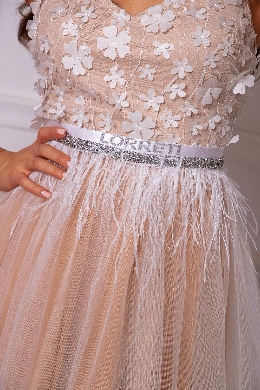 """Коктейлна къса рокля """"Aria"""" цвят нюд с бял"""
