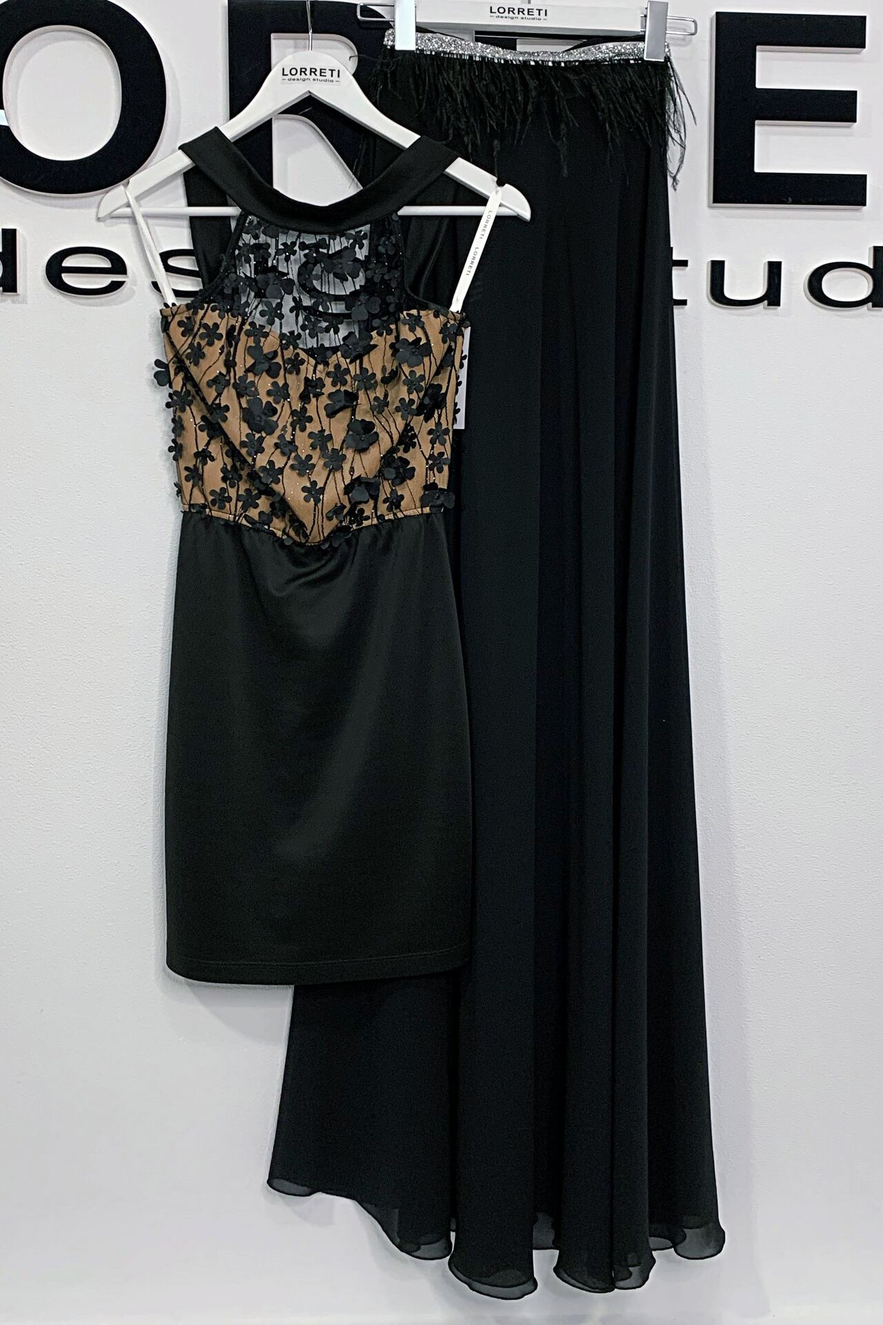 """Официална рокля 2 в 1 """"Nikkie"""" цвят черен с нюд"""