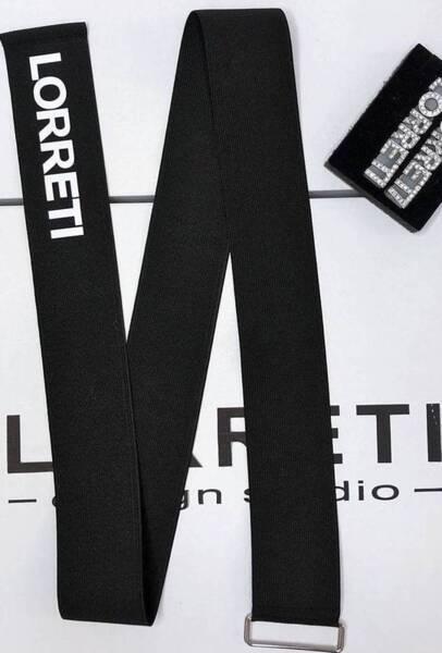 """Дизайнерски колан """"LORRETI Limited"""" ластик цвят черен с бял"""