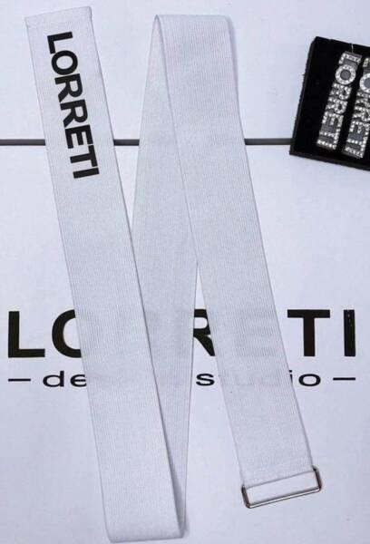 """Дизайнерски колан """"LORRETI Limited"""" ластик цвят бял с черен"""