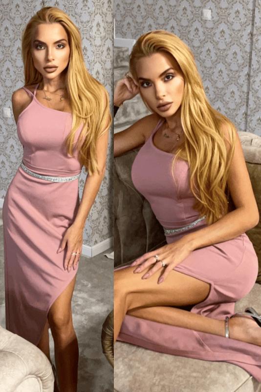 """Официална дълга рокля """"Zlatina"""" цвят пепел от рози"""
