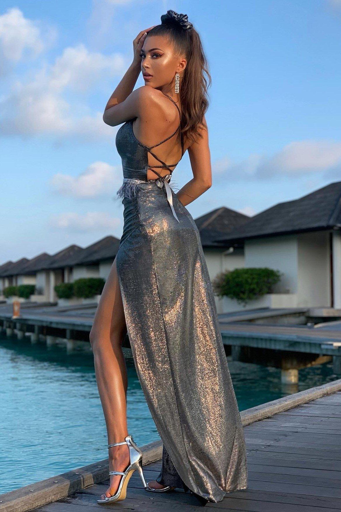 """Официална дълга рокля """"Adriana"""" ламе цвят графит"""