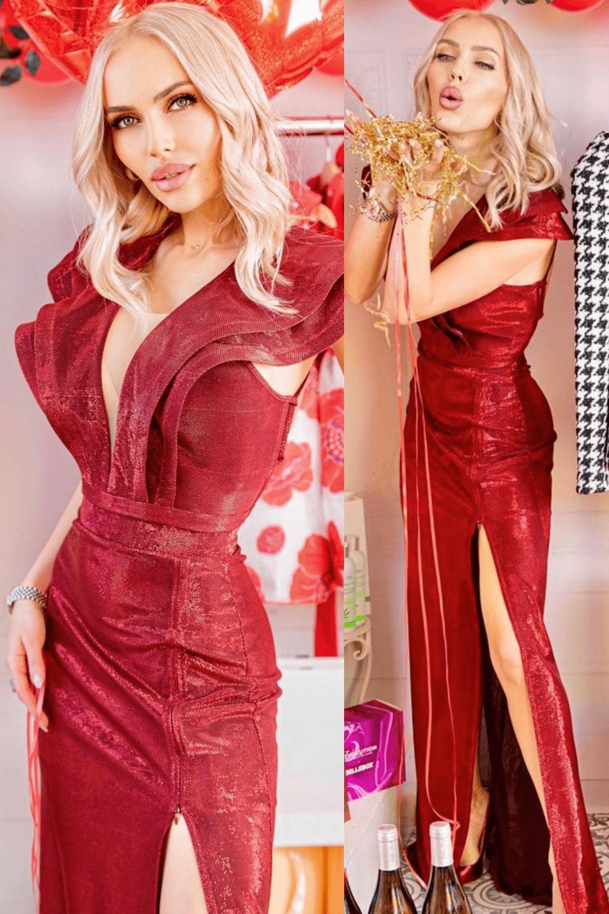 Официална дълга рокля ламе по тялото цвят бордо LORRETI жасмин