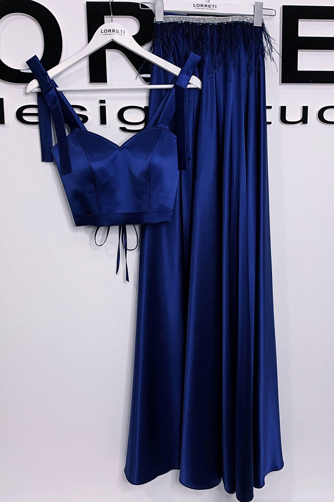 Официална дълга рокля от сатен цвят тъмносин LORRETI