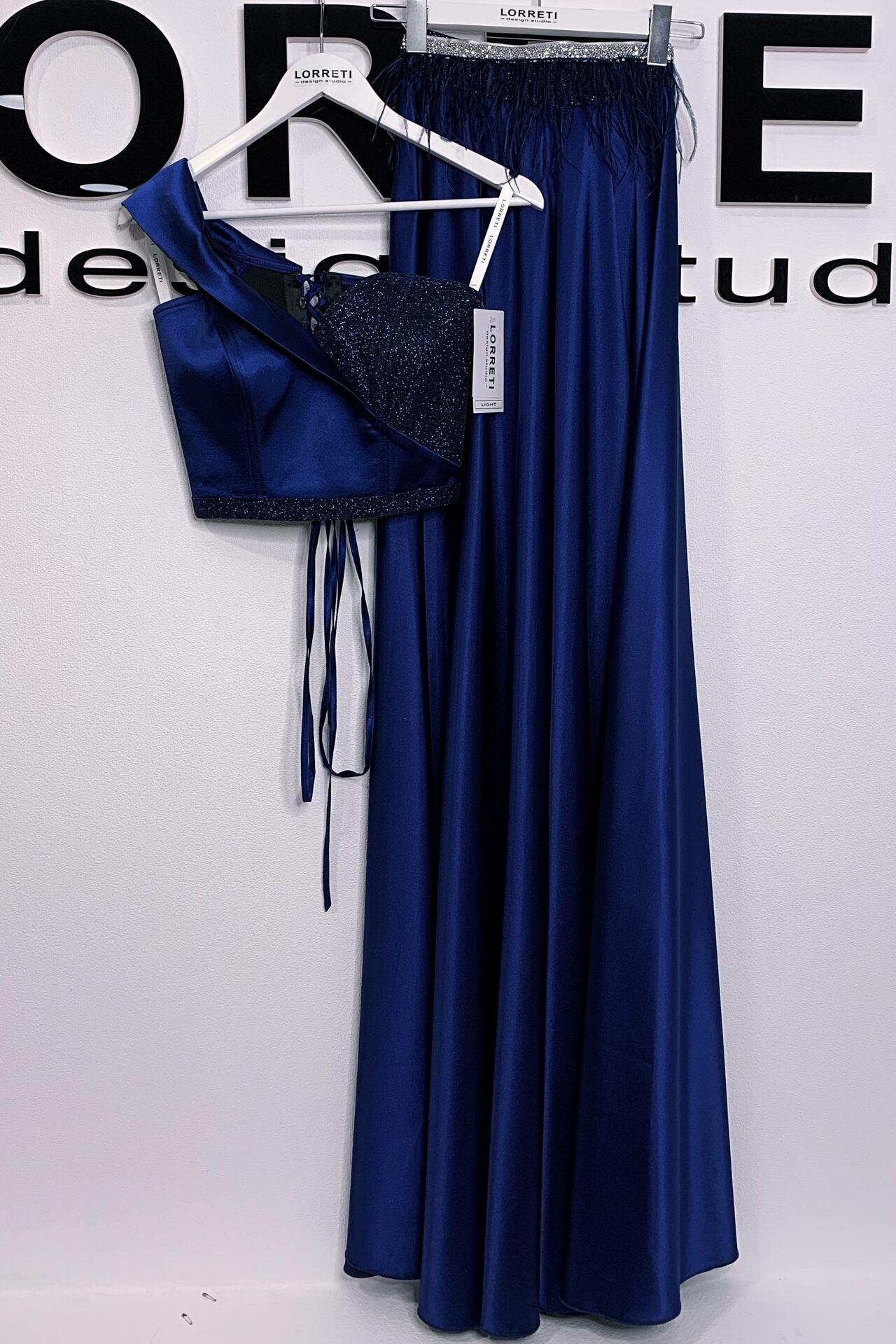 """Официална дълга рокля """"Alexia"""" цвят тъмно син"""