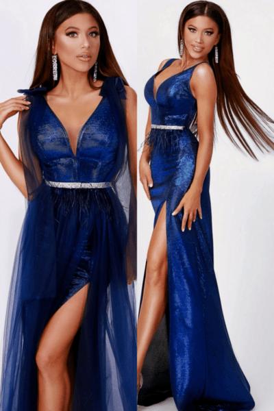 """Официална дълга рокля """"Bianca"""" ламе цвят тъмносин"""