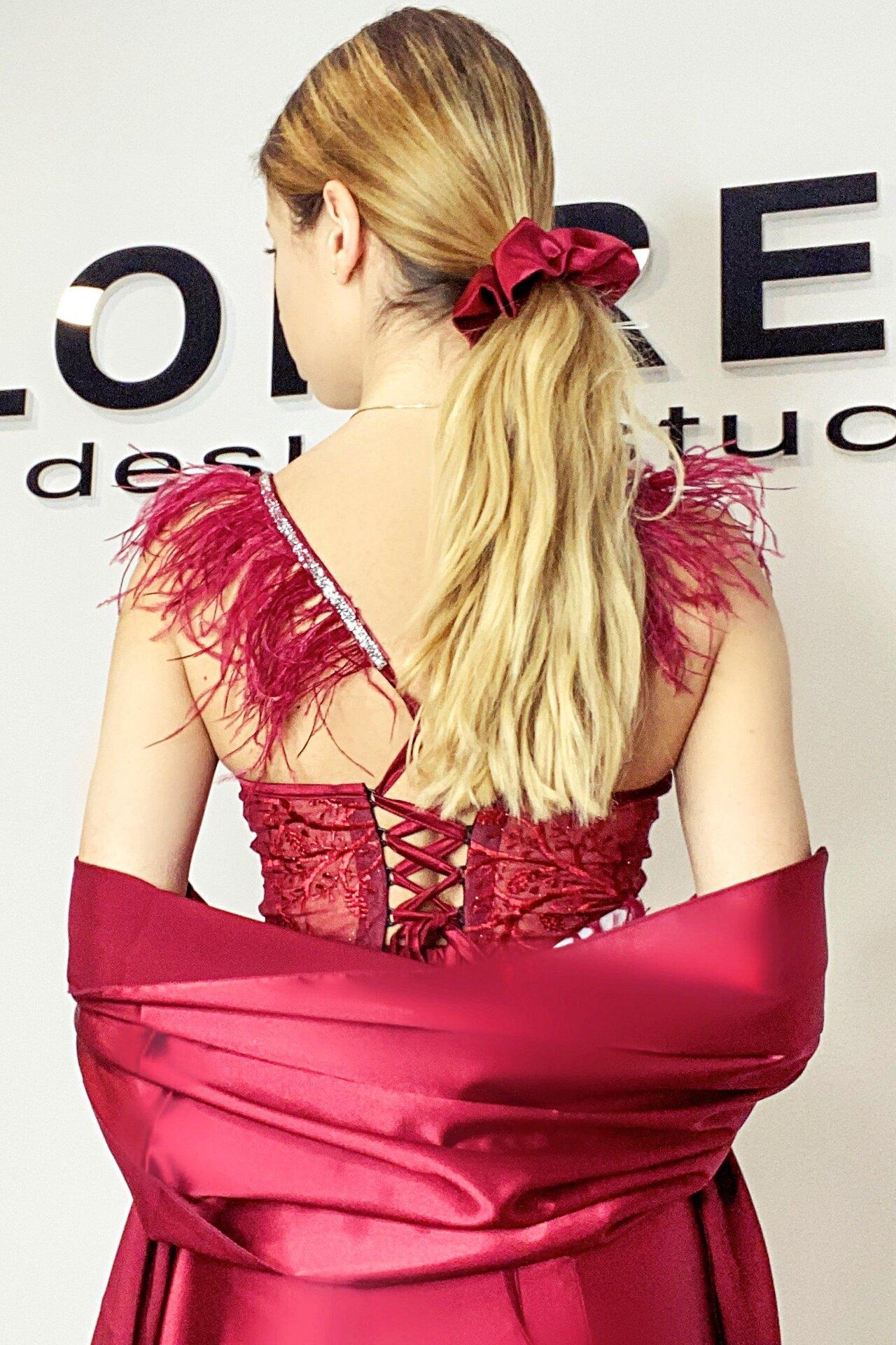 """Официална дълга рокля """"Adora"""" цвят бордо"""