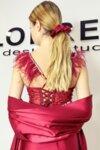 Аксесоар за коса скрънчи сатен цвят бордо
