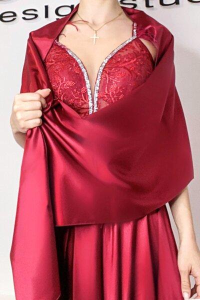 Мултифункционален шал/ парео/ кърпа за глава сатен цвят бордо