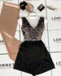 """Дамски къс панталон """"A-silhouette"""" цвят черен"""