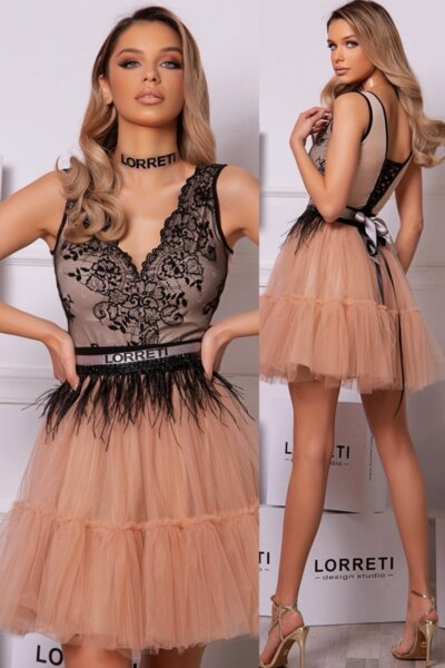 "Коктейлна къса рокля ""Harry-Swan"" цвят нюд"