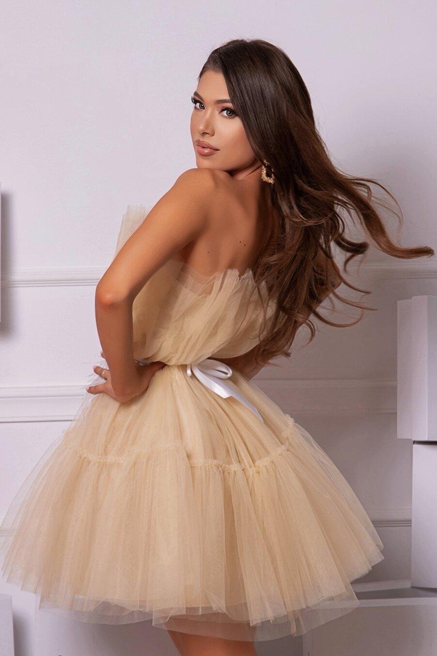 """Коктейлна къса рокля """"Barbie"""" цвят ванилия"""