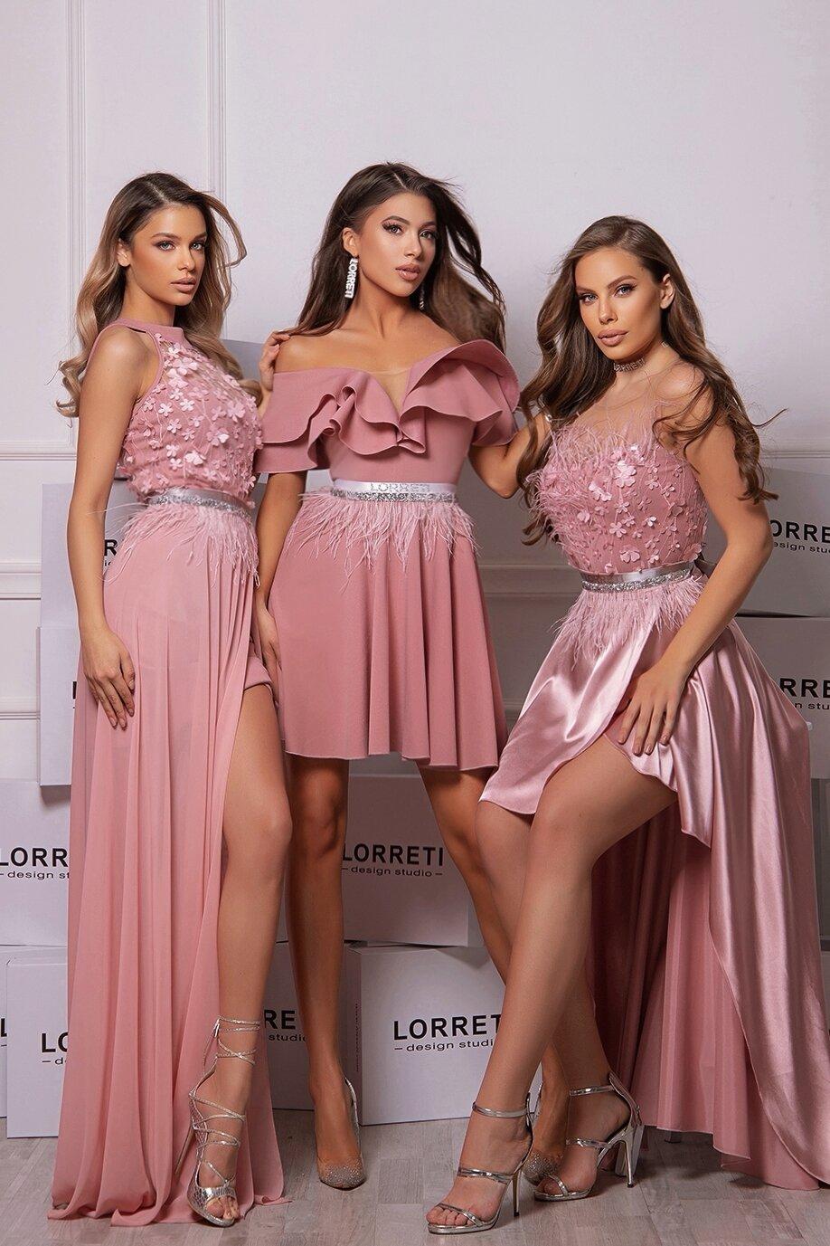 Официална дълга рокля цвят пепел от рози италианска дантела lorreti ивомила лора лилова