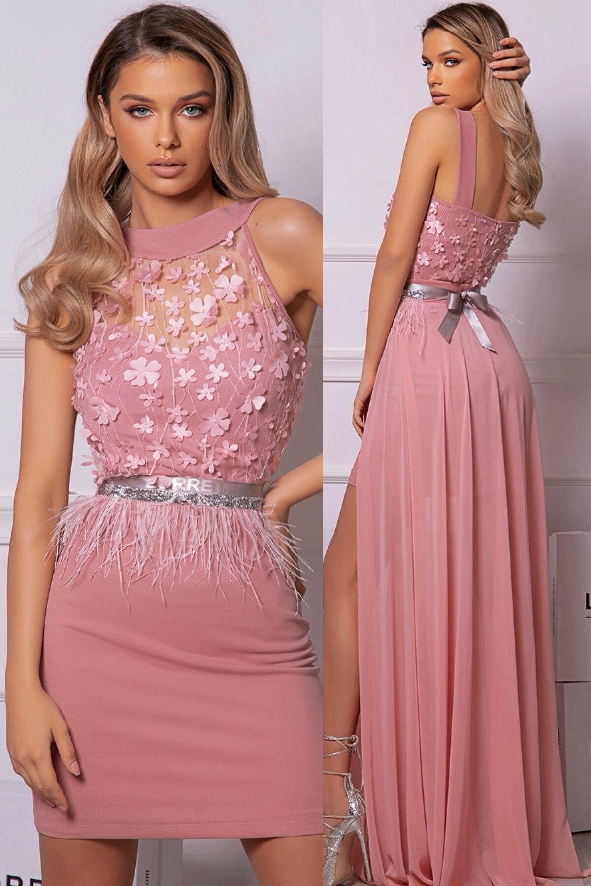 Официална дълга рокля цвят пепел от рози италианска дантела lorreti ивомила