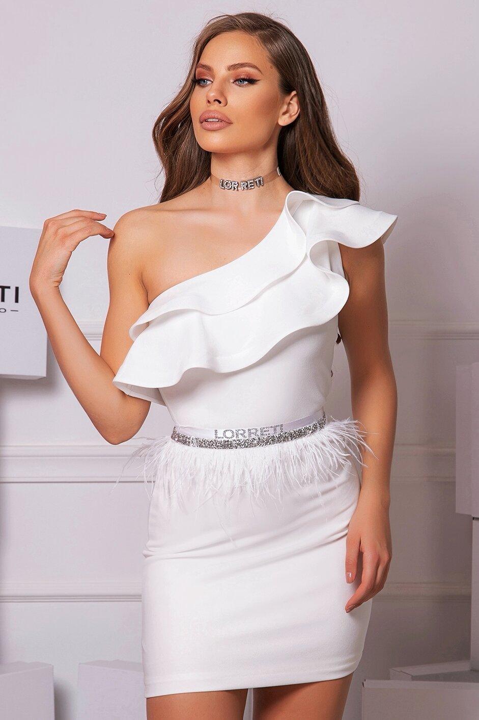 """Коктейлна къса рокля """"Classy"""" цвят бял"""