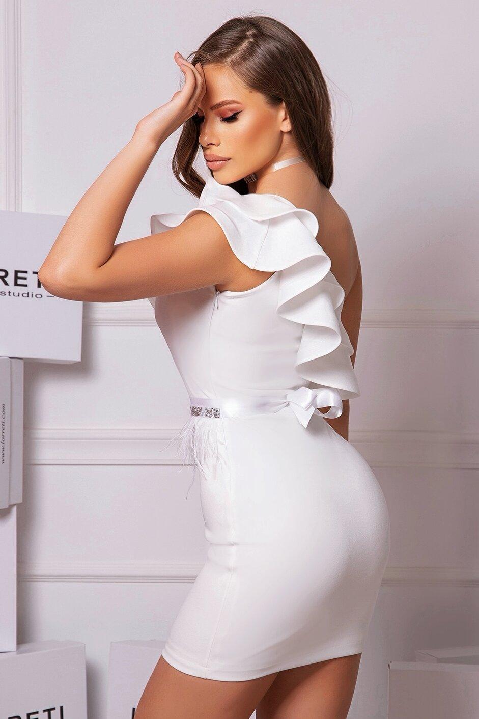 Коктейлна къса рокля цвят бял lorreti