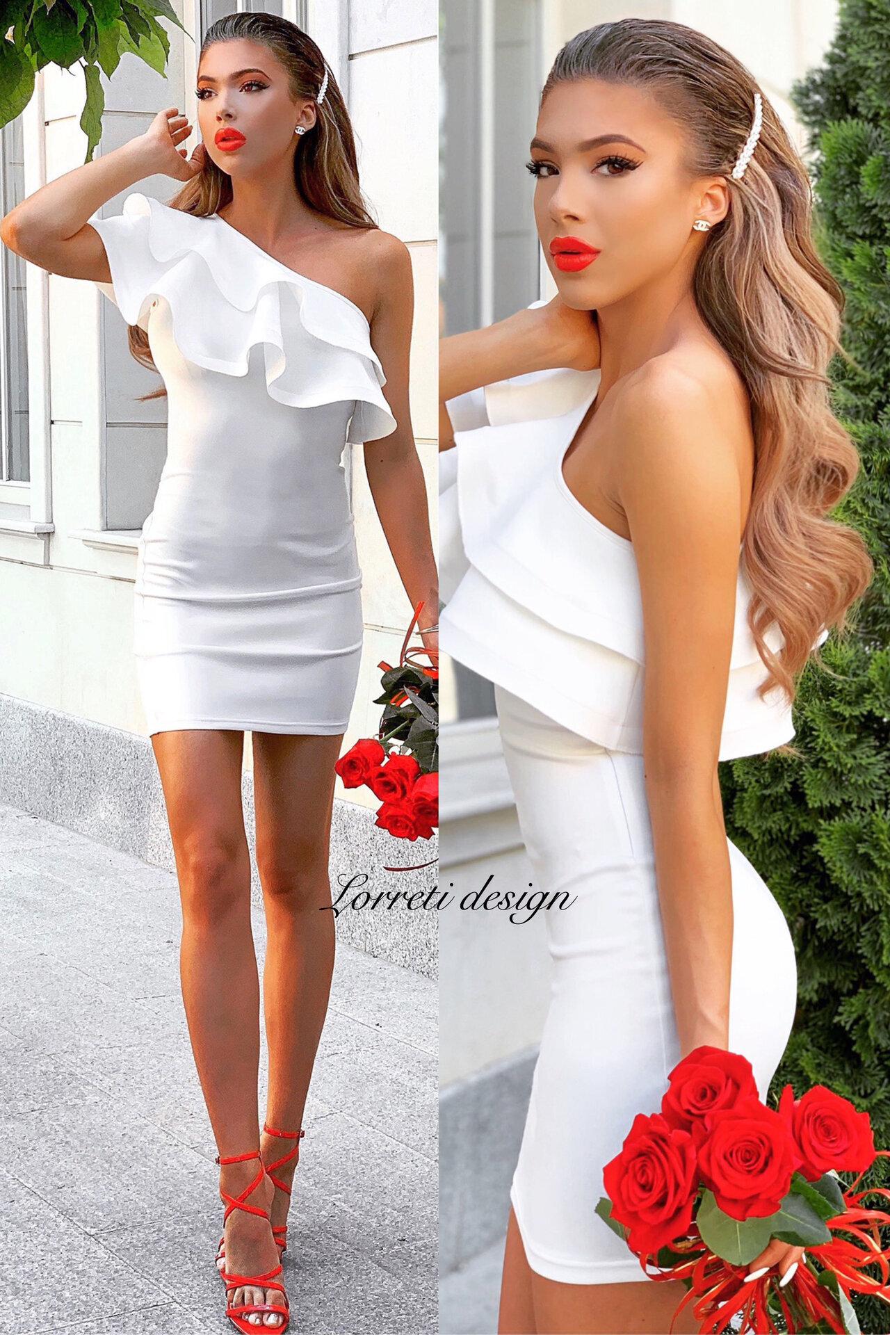 Коктейлна къса рокля цвят бял lorreti лора лилова