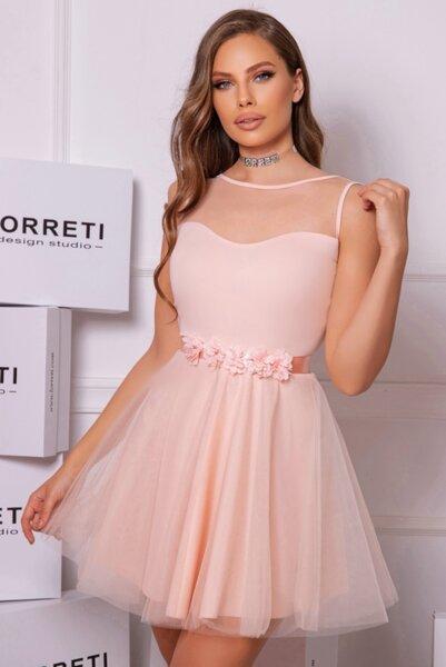 Коктейлна къса рокля ''Dessie Candy'' цвят нежна праскова