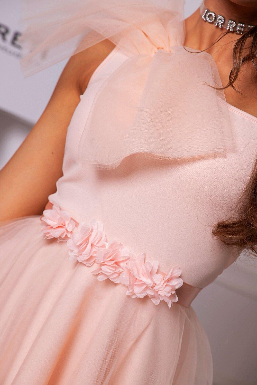 Коктейлна къса рокля цвят нежна праскова тюлена lorretiлора лилова