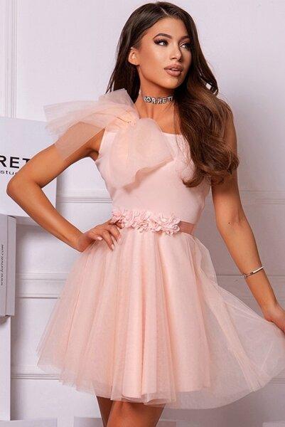 Коктейлна къса рокля ''Zlati Candy'' цвят нежна праскова