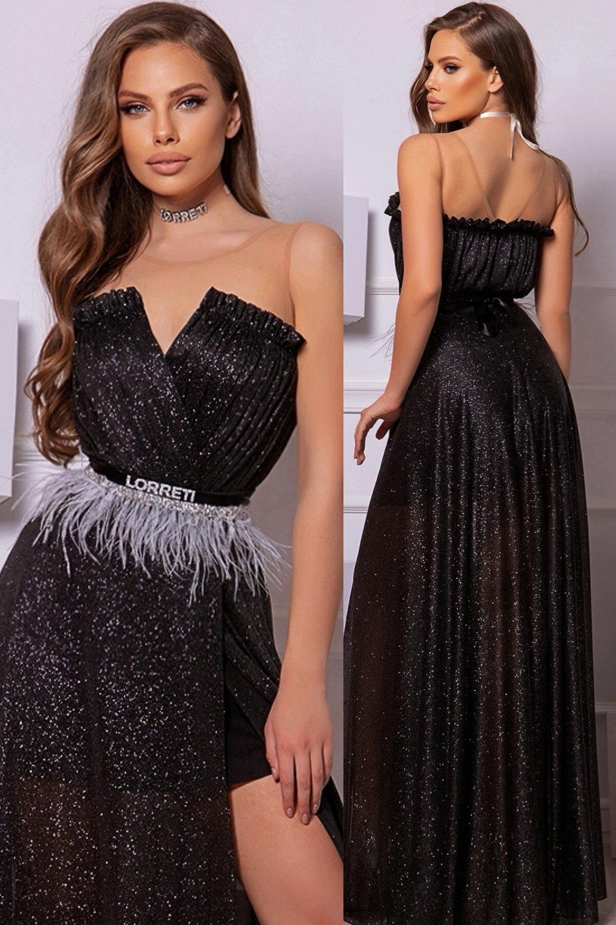 Официална дълга рокля цвят черен блестяща