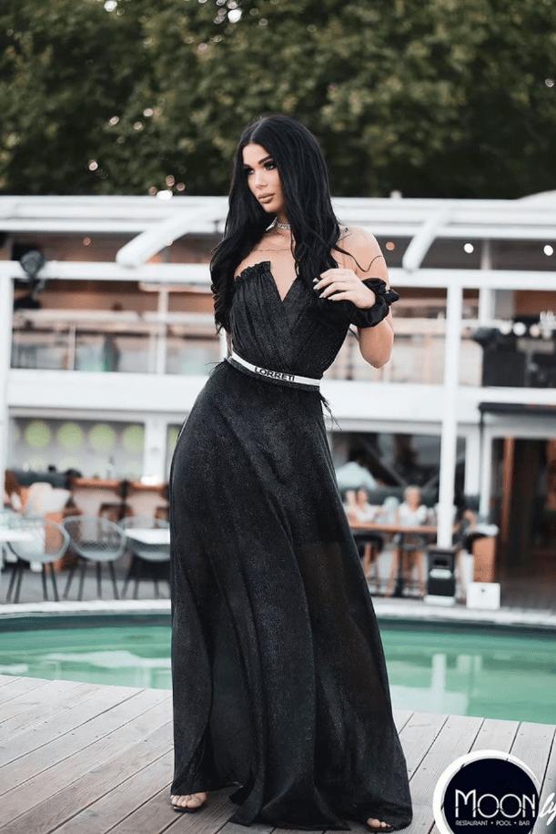 """Официална дълга рокля """"Goddess"""" цвят черен"""