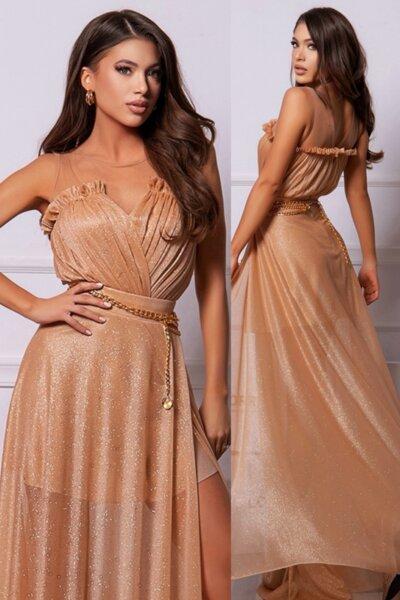 """Официална дълга рокля """"Goddess"""" цвят златен"""