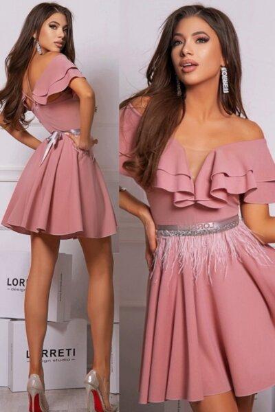 """Коктейлна къса рокля """"Mademoiselle"""" цвят пепел от рози"""